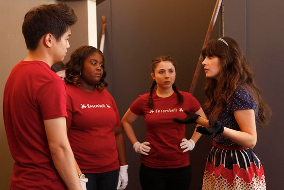 "NEW GIRL:  Jess (Zooey Deschanel, R) prepares the members of her handbell quartet (L-R: guest stars Ki Hong Lee, Raven Goodwin and Esther Povitsky) to perform in the ""Bell"
