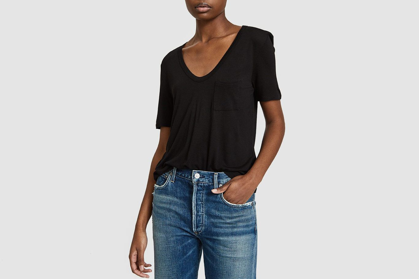 T by Alexander Wang Classic Cropped Tee in Black