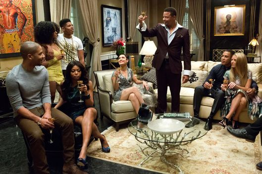 "EMPIRE: Lucious (Terrence Howard) toasts his family in the ""Devil Quotes Scripture"" episode airing Wednesday, Jan. 21 (9:00-10:00 PM ET/PT) on FOX. Pictured L-R: Jussie Smollett, Serayah McNeill, Taraji P. Henson, Bryshere Gray, Grace Gealey, Terrence Howard, Trai Byers and Kaitlin Doubleday. ?2014 Fox Broadcasting Co. CR: Chuck Hodes/FOX"