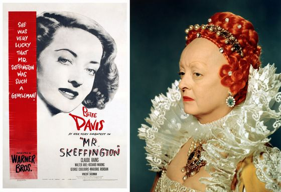 "Bette Davis shaved her hairline both times she played Queen Elizabeth I, in 1939's <i><a href=""http://en.wikipedia.org/wiki/The_Private_Lives_of_Elizabeth_and_Essex"">The Private Lives of Elizabeth and Essex</a> </i>and 1955's <i>The Virgin Queen</i><b><i>. </i></b>New York <i>Times </i>critic Bosley Crowther described her baldness <a href=""http://movies.nytimes.com/movie/review?res=9C02E3D9103AE53BBC4E53DFBE66838E649EDE&gwh="">with revulsion and awe</a>: ""[H]er prominent noggin looks like an ostrich egg, surmounted by a thoroughly startling and incredible orange-colored wig. From behind all this ornamentation, Miss Davis projects a thing that seems part man, part woman, part monster, part suppliant and part freak."" Davis also subjected herself to old-age makeup and hair loss for 1944's <i>Mr. Skeffington</i>, about a vain woman who loses her looks. Of that movie, <a href=""http://movies.nytimes.com/movie/review?res=9E0CEEDA1338E33BBC4E51DFB366838F659EDE"">the snide Bosley Crowther wrote</a>, ""Never, in our recollection, has Miss Davis devoted so much work to a character of so little importance as the one she plays in this film. And never has make-up borne so plainly the dramatic responsibilities of a show. … As an exercise in female frippery, this picture has its points. But you have to accept the original premise that Miss Davis is irresistible to men."""