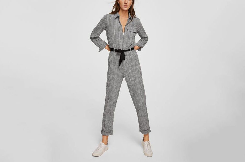 MANGO Check cotton jumpsuit