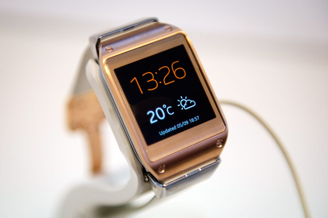 The Samsung Galaxy Gear wrist watch is seen at the booth of South Korean electronics giant Samsung at the 53rd IFA electronics trade fair in Berlin on September 5, 2013.