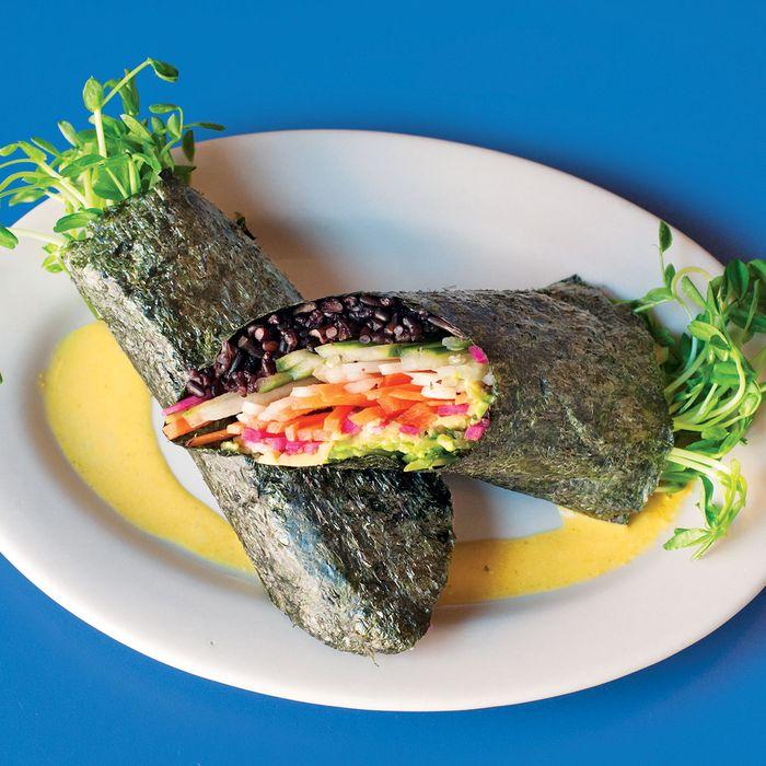Rainbow nori wrap, crunchy vegetables, black rice, avocado, pea shoots, ginger turmeric tahini.