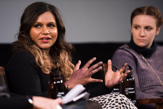 """Mindy Kaling and Lena Dunham attend the """"Power Of Stories: Serious Ladies"""" panel during the 2015 Sundance Film Festival on Saturday, Jan. 24, 2015, in Park City, Utah. (Photo by Arthur Mola/Invision/AP)"""