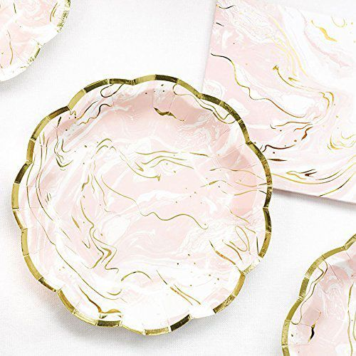 Talking Tables Party Porcelain Marble and Gold Foil Paper Plates, Pink/Gold (24 Pack)