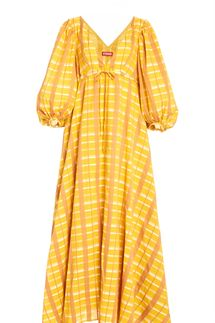 Staud Amaretti Plaid Cotton-Blend Dress