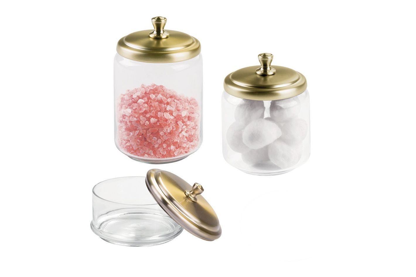 mDesign Bathroom Vanity Glass Apothecary Jars