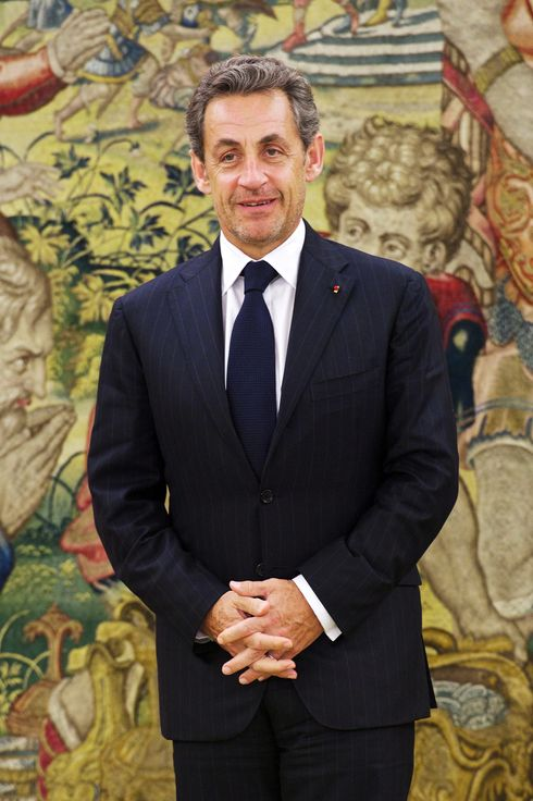 Nicolas Sarkozy looks on before the meeting with King Juan Carlos of Spain at the Zarzuela Palace on May 27, 2014 in Madrid, Spain