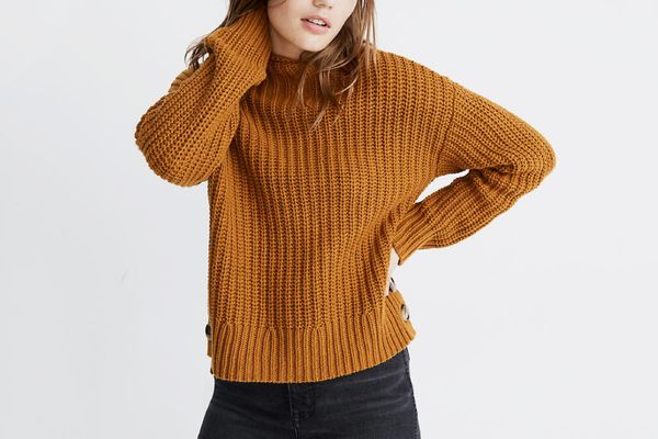 Madewell Mockneck Side-Button Pullover Sweater