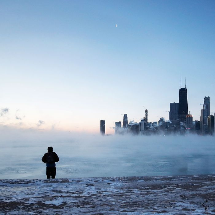 man stands outside during polar vortex