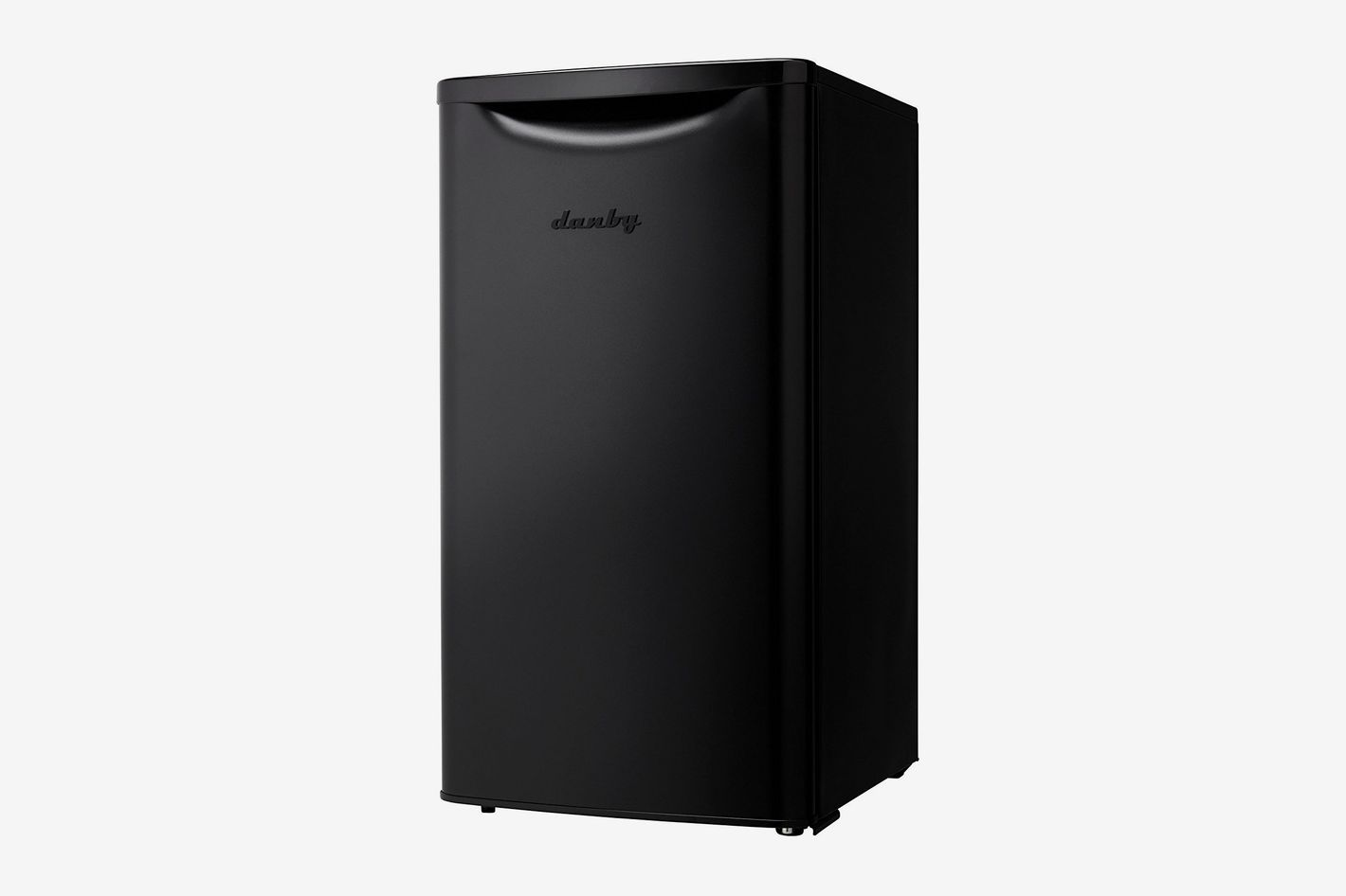 An all black mini fridge with a hollowed-out handle on the top