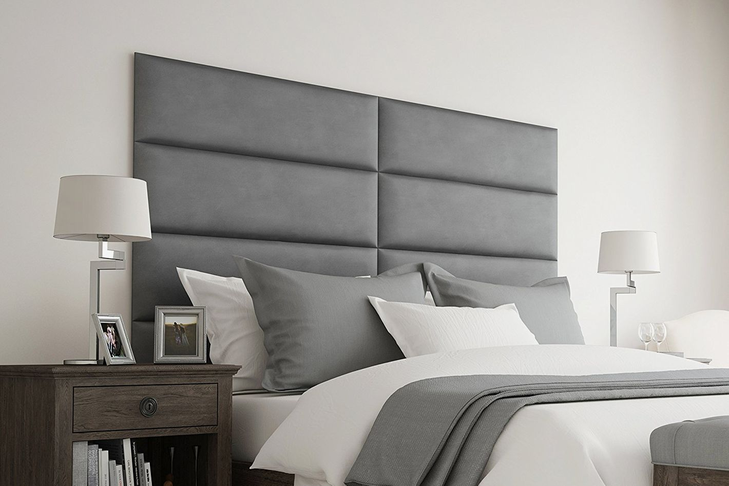 Gray rectangular upholstered headboard tiles.