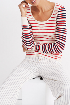 Madewell Stillman Pullover Sweater in Stripe Mix