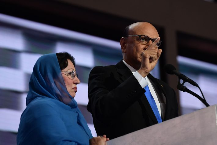 Ghazala Khan stands next to her husband at the Democratic National Convention.