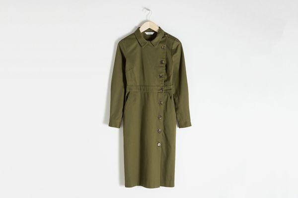 Cotton Utilitarian Midi Dress