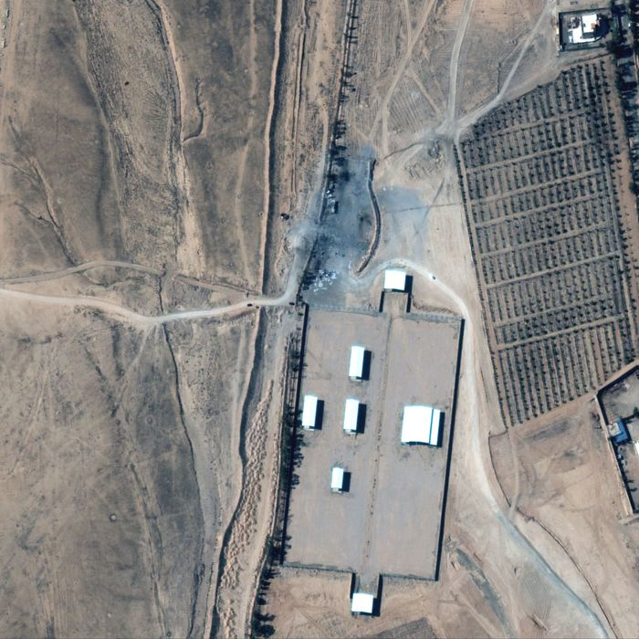 A satellite image of the collection of buildings on the Syrian side of the border with Iraq which the Biden administration targeted with airstrikes on Thursday.