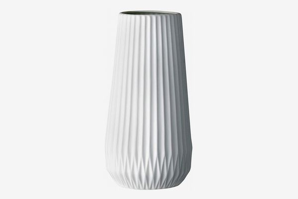 Bloomingville Tall White Ceramic Fluted Vase