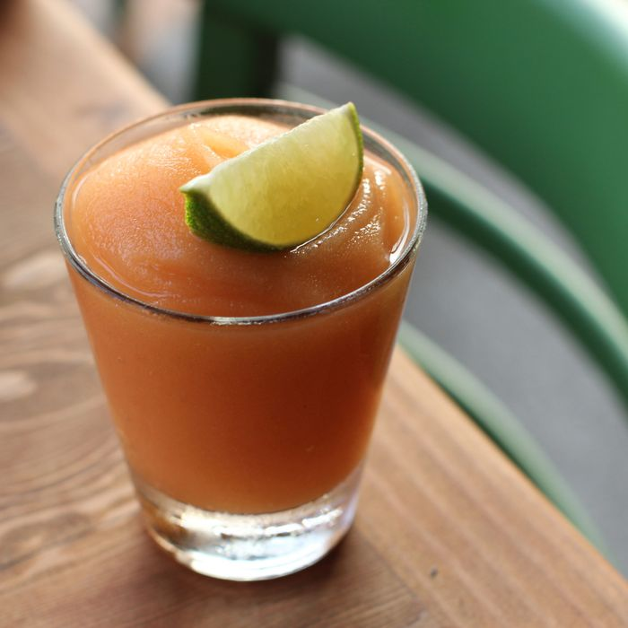 The frozen Not-Too-Sweet includes tequila, apples, peaches, lime, lemon, and Riesling.