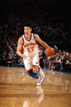 Jeremy Lin #17 of the New York Knicks controls the ball during a game against the Los Angeles Lakers on February 10, 2012 at Madison Square Garden in New York City.