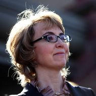 TUCSON, AZ - MARCH 06: Former U.S. Rep. Gabby Giffords attends a news conference outside Safeway grocery store where they asked Congress to provide stricter gun control in the United States on March 6, 2013 in Tucson, Arizona. Giffords and Kelly were joined by survivors of the Tucson shooting that took place there two years ago when six people were killed and Giffords herself was shot in the head. (Photo by Joshua Lott/Getty Images)