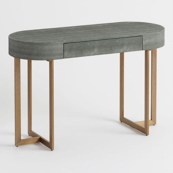 World Market Oval Gray Faux Shagreen Katy Desk