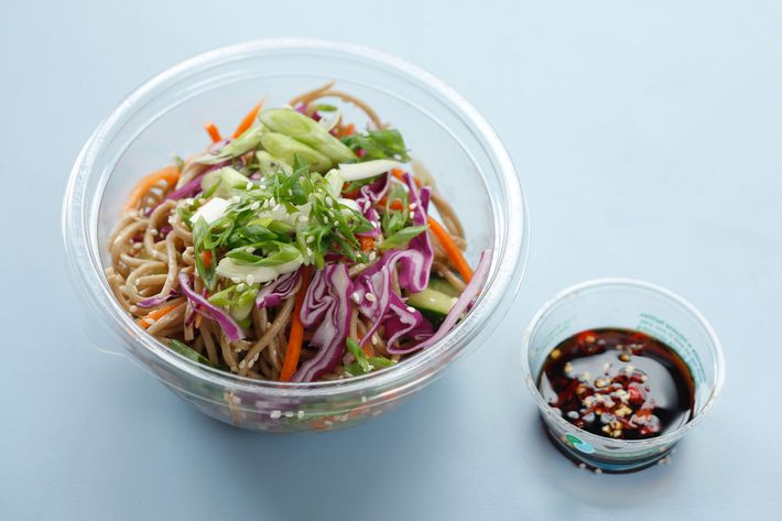 Soba noodles with cucumber, red cabbage, carrot, sesame seeds, scallions, and tsuyu sauce.
