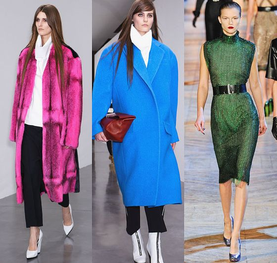 """At Céline, we saw an explosion of great color in easy silhouettes. The shows were full of flashes of electric color -- beautiful blues and oranges; then that pop of pink at Céline. We also saw more jewel tones, particularly emerald green.""  <b>Must-have</b>: Céline electric-blue coat (center)."