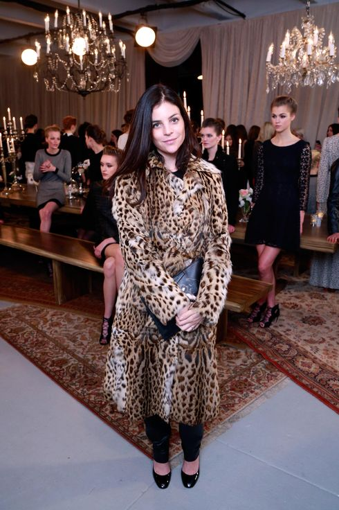 Julia Restoin Roitfeld poses at the Joie Fall 2013 fashion show presentation during Mercedes-Benz Fashion Week at Center 548 on February 13, 2013 in New York City.