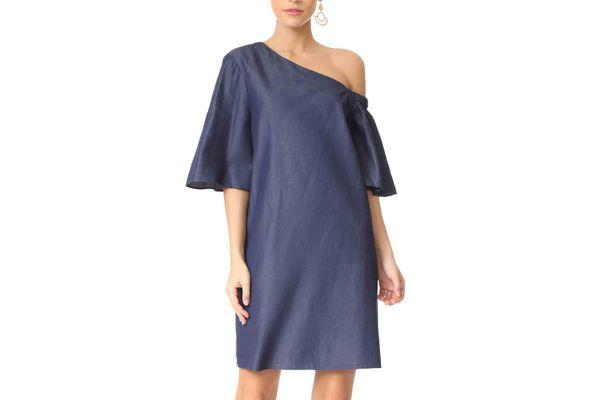 Tibi One Shoulder Bell-Sleeve Dress