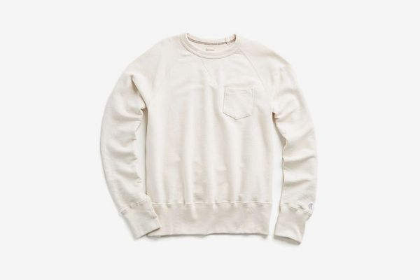 Todd Snyder x Champion Classic Garment Dyed Pocket Sweatshirt in Vintage White