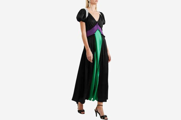 Attico Carlotta Color-Block Satin Maxi Dress