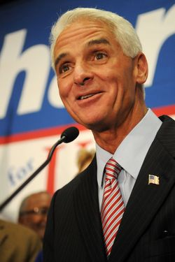 ST PETERSBURG, FL - NOVEMBER 02:  Florida independent senate candidate Charlie Crist speaks to his supporters during the Election Night Gathering on November 2, 2010 in St Petersburg, Florida. Senate candidate Charlie Crist was defeated by his Republican opponent Marco Rubio.  (Photo by Gerardo Mora/Getty Images) *** Local Caption *** Charlie Crist