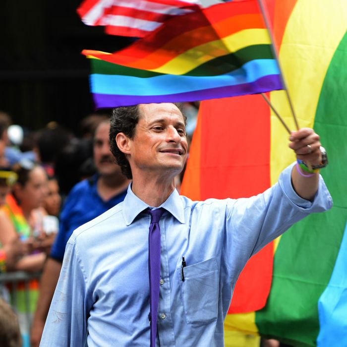 New York City Mayoral Candidate Anthony Weiner attends The March during NYC Pride 2013 on June 30, 2013 in New York City.