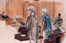 "In this courtroom sketch Sulaiman Abu Ghaith, center right, Osama bin Laden's son-in-law, stands next to attorney Stanley Cohen, center, as interpreter Marwan Abdel-Rahman, right, quotes from the Quran on behalf of Abu Ghaith during his sentencing hearing in New York, Tuesday, Sept. 23, 2014. U.S. District Judge Lewis A. Kaplan, left, sentenced Abu Ghaith to life in prison for acting as al-Qaida's spokesman after the Sept. 11, 2001, terror attacks The judge said he saw ""no remorse whatsoever"" from the 48-year-old imam who was convicted in March on conspiracy charges that he answered Osama bin Laden's request in the hours after the attacks to speak on the widely circulated videos used to recruit new followers willing to go on suicide missions like the 19 who hijacked four commercial jets on Sept. 11."