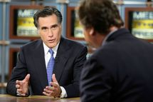 "WASHINGTON - DECEMBER 16: (AFP OUT)  Republican U.S. presidential hopeful and former Massachusetts Governor Mitt Romney (L) speaks as he is interviewed by moderator Tim Russert during a taping of ""Meet the Press"" at the NBC studios December 16, 2007 in Washington, DC. Romney spoke on his campaign for the 2008 presidential elections.  (Photo by Alex Wong/Getty Images for Meet the Press) *** Local Caption *** Mitt Romney;Tim Russert"
