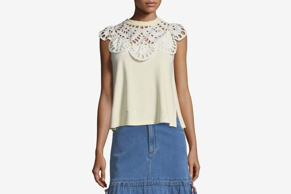 See by Chloé Eyelet-Neck Sleeveless Cotton Tee