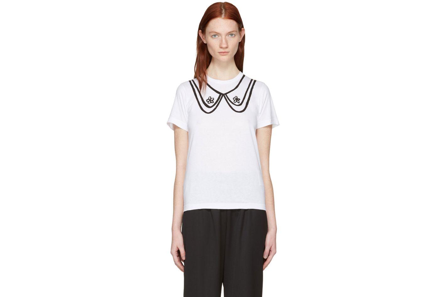 Comme des Garçons Girl  White Collar Print T-Shirt