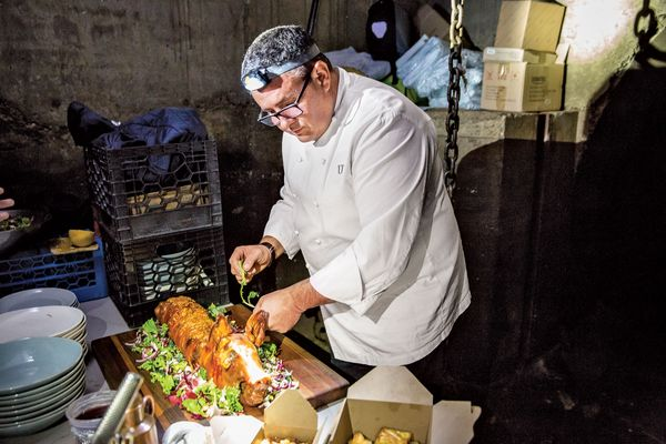 See Laurent Tourondel Serve Suckling Pig in a Candlelit Sewer Tunnel