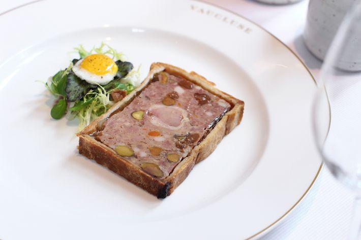 Paté en Croûte: duck-and-pork terrine, pistachio, cherry, whole-grain mustard.