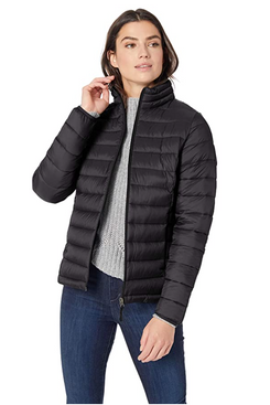 Amazon Essentials Women's Lightweight Long-Sleeve Full-Zip Water-Resistant Packable Puffer Jacket