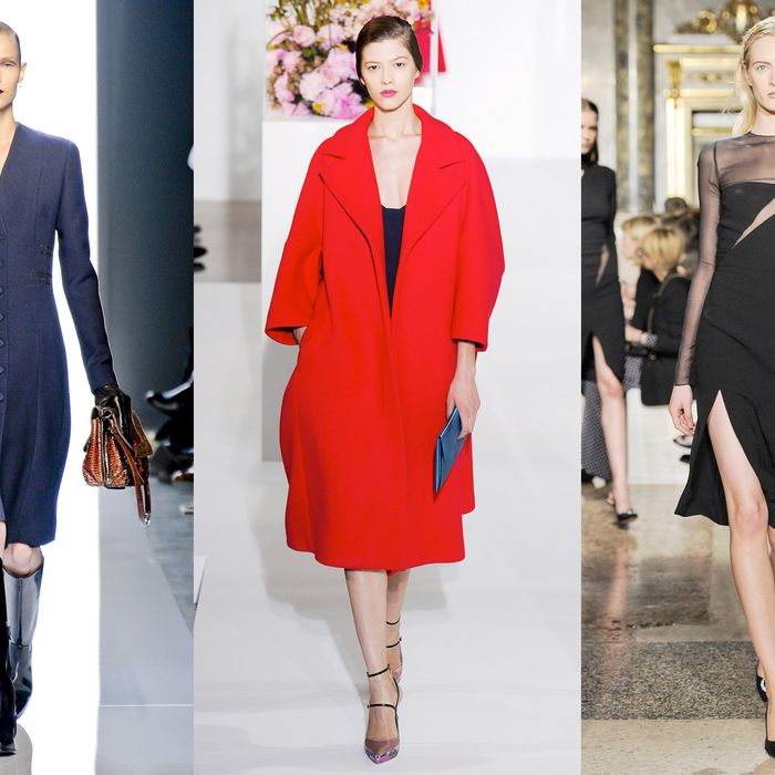 From left: looks from Bottega Veneta, Jil Sander, and Pucci