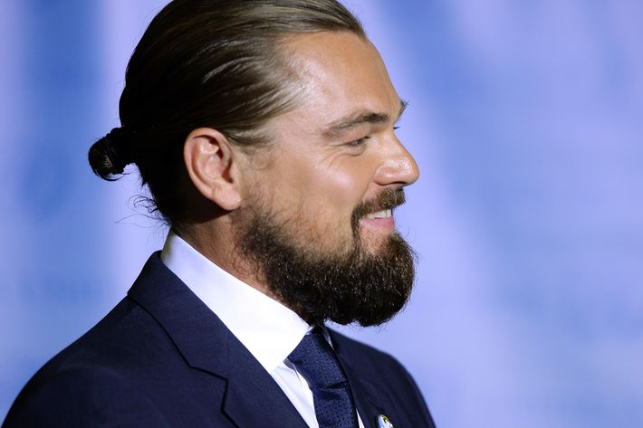Leo DiCaprio and his bun.