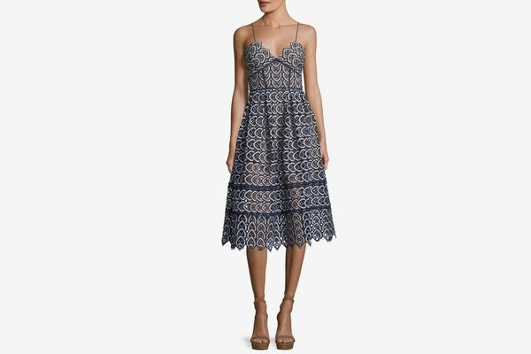 Self-Portrait Sweetheart Azaelea Lace Fit-and-Flare Tea-Length Cocktail Dress