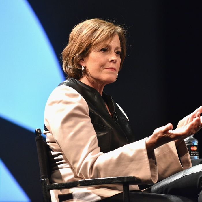 Sigorney Weaver speaks onstage during The New Yorker Festival 2015 on October 2, 2015 in New York City.