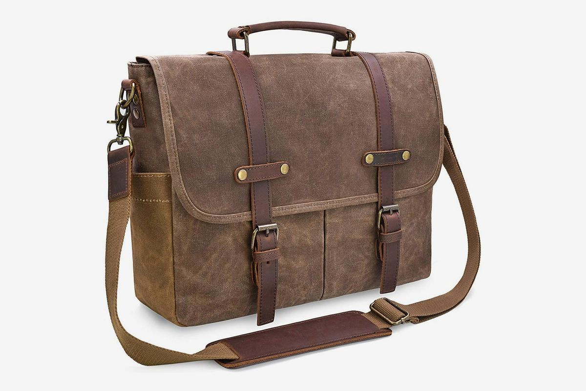Genuine Leather Business Bag Mens Handbag Soft Handle 14 Inches Bag coffee