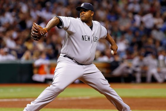 ST PETERSBURG, FL - JULY 21:  :  Pitcher C.C. Sabathia #52 of the New York Yankees pitches against the Tampa Bay Rays during the game at Tropicana Field on July 21, 2011 in St. Petersburg, Florida.  (Photo by J. Meric/Getty Images)