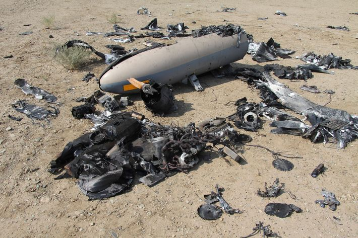 This undated photo released Monday, Aug. 25, 2014 by the Iranian Revolutionary Guards, purports to show the wreckage of an Israeli drone which Iran claims it shot down near an Iranian nuclear site. Iran's state TV on Monday broadcast footage purported to show the Israeli drone the country's Revolutionary Guard claimed to have shot down over the weekend near an Iranian nuclear site. The brief video, aired on the Arabic-language Al-Alam TV, shows what the channel says are parts of the drone, scattered in an unidentified desert area. (AP Photo/Sepahnews)