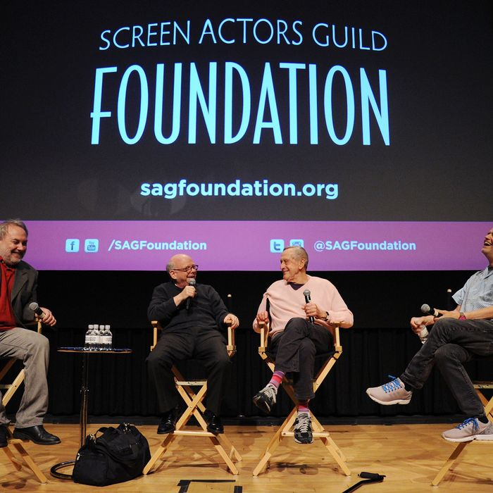 NEW YORK, NY - JULY 22: (L-R) David Edelstein, Wallace Shawn, Andrew Gregory and Jonathan Demme speak during the SAG Foundation Presents A Conversations With