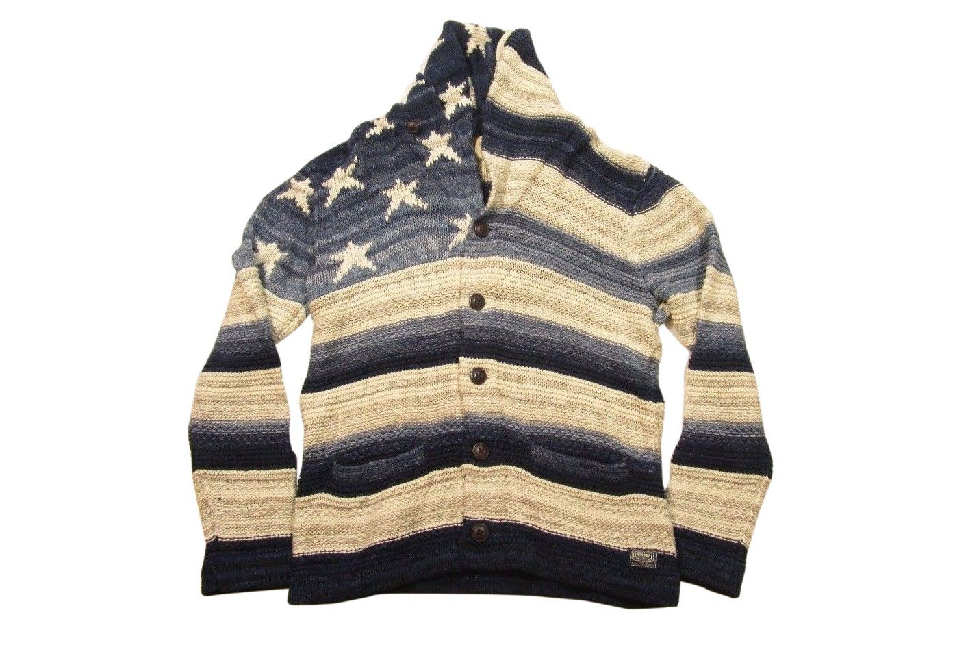 Ralph Lauren Denim & Supply Men's Flag Graphic Blue Striped Cardigan Sweater