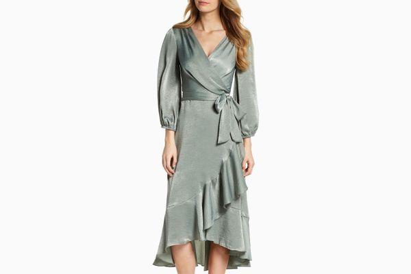 Gal Meets Glam Couture Jennifer Shimmer Satin Wrap Dress